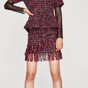 Zara Tweed Mini Skirt Size Small